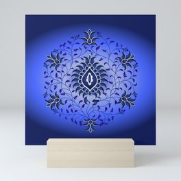 antique blue hue toile Mini Art Print