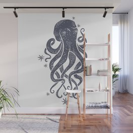 Octopus Squiggly King Of The Sea Pattern Wall Mural