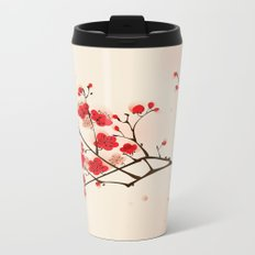Oriental style painting, plum blossom in spring Metal Travel Mug