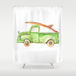 Green Truck Shower Curtain