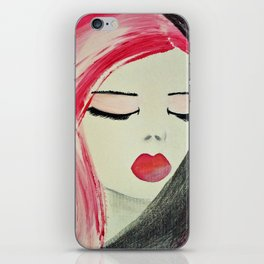 Shy Girl. Abstract Pink Girl. Pink Lips. Pink Hair. Jodilynpaintings. Eyelashes. Gift for All Girls. iPhone Skin