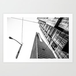 pyramid building and modern building in black and white at San Francisco, USA Art Print