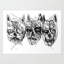 Dumb Lame Bat Heads Art Print