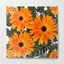Orange Flowers Black Leaves White Background Retro mood #decor #society6 #buyart Metal Print