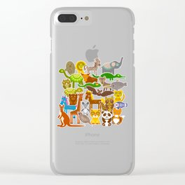 collection Funny cartoon Animals seamless pattern on beige background. Vector Clear iPhone Case