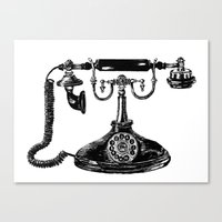 telephone Canvas Prints featuring Telephone by Rachel Walsh