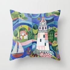 Island Lighthouse Throw Pillow