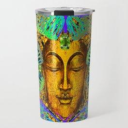 GreenPeridot Gems Butterfly Love in Purple-Blue Travel Mug
