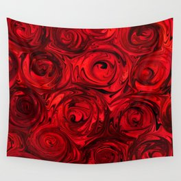 Red Apple Roses Abstract Wall Tapestry