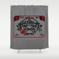 ouija Shower Curtains featuring Ouija Board by CarloJ1956