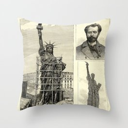 Statue of Liberty Construction Illustration Throw Pillow