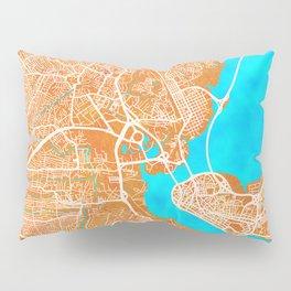 Lagos, Nigeria, Gold, Blue, City, Map Pillow Sham