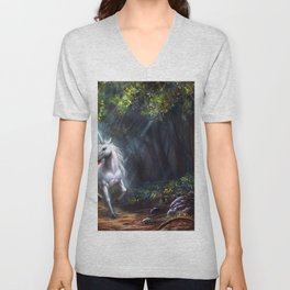 Magnificent Marvelous Magic Fantasy Unicorn Forest Clearing Ultra HD Unisex V-Neck