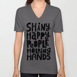 shiny happy people x typography Unisex V-Ausschnitt