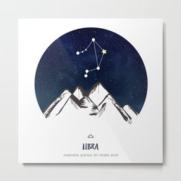 Astrology Libra Zodiac Horoscope Constellation Star Sign Watercolor Poster Wall Art Metal Print