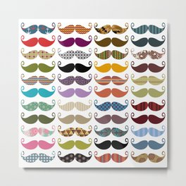 Colorful Mustaches Metal Print