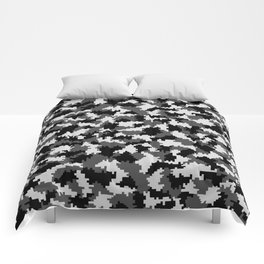 Camouflage Digital Black and White Comforters