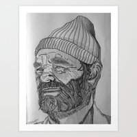 steve zissou Art Prints featuring Steve Zissou by Antony Stephenson