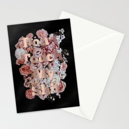 Don't Touch My Shit Floral Rose Gold Stationery Cards