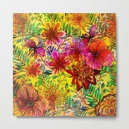 Tropical Hot Heat Flower Hibiscus Garden Metal Print