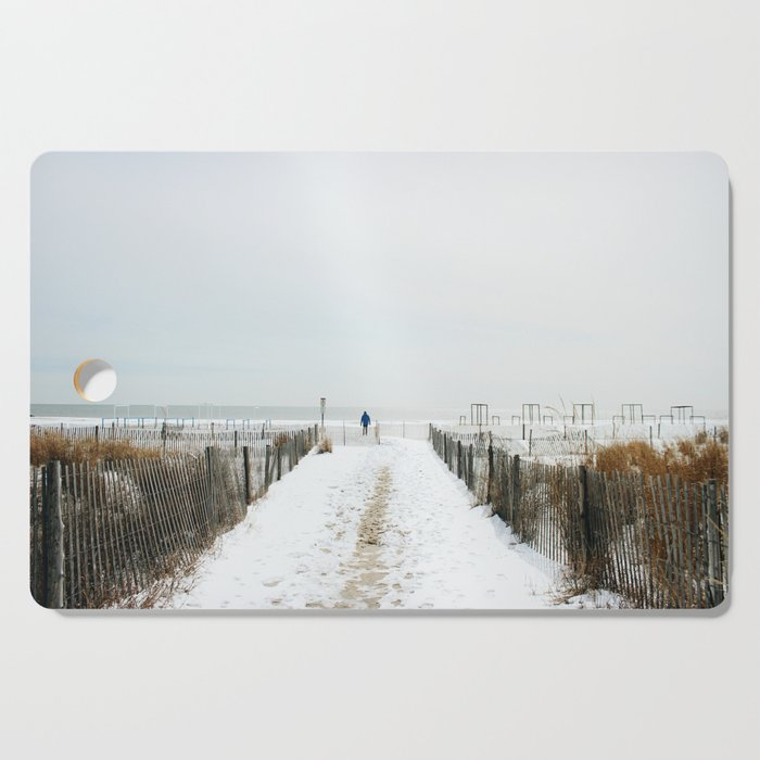 Snow Covered Beach Cutting Board By