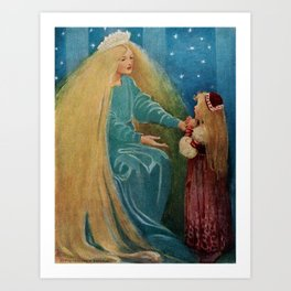 The Princess and the Goblin fairy tale children's portrait painting by Jessie Wilcox Smith Art Print