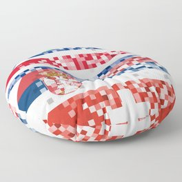 Abstract composition of the flags of national sports teams Floor Pillow