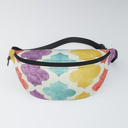 Quatrefoil pattern in pastel shades Fanny Pack