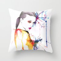 beth hoeckel Throw Pillows featuring Beth by Amy Jane Eaton