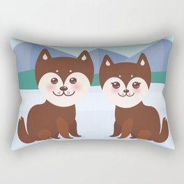 Kawaii funny brown husky dog, face with large eyes and pink cheeks, boy and girl, mountain landscape Rectangular Pillow