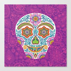 Flower Power Skully Canvas Print