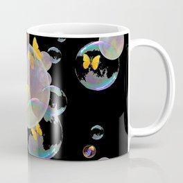 SURREAL GOLDEN YELLOW BUTTERFLIES  & SOAP BUBBLES Coffee Mug