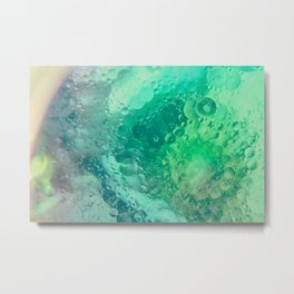 Underwater Macro Photography With Green Bubbles Metal Print