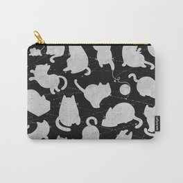 Silver Cats on Black Kitty Pattern Carry-All Pouch