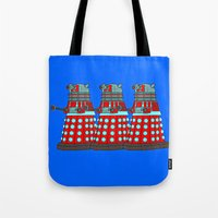 doctor who Tote Bags featuring Doctor Who by Alli Vanes