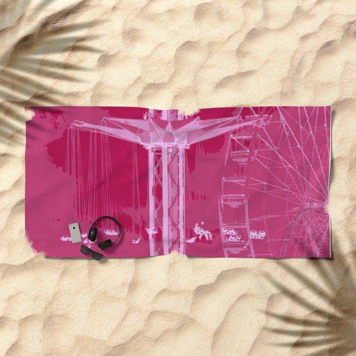 Carnival Rides - Pink Hues Beach Towel
