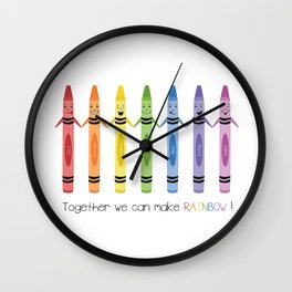 Together we can make rainbow Wall Clock