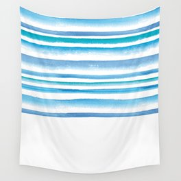 Blue watercolor stripes Wall Tapestry