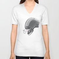 alien V-neck T-shirts featuring Alien?! by Matisse Lin