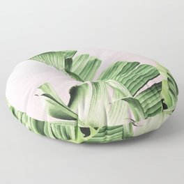 Banana Leaf on pink Floor Pillow