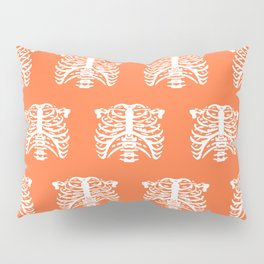 Human Rib Cage Pattern Orange Pillow Sham