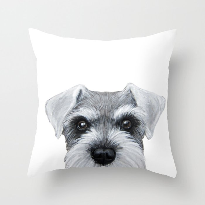 Schnauzer Grey&white, Dog illustration original painting print Throw Pillow