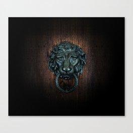 Vintage bronze lion door knocker Canvas Print