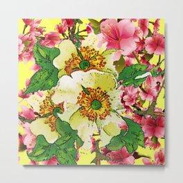 CONTEMPORARY PINK & CREAMY WHITE SPRING FLOWERS Metal Print