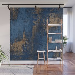 NAVY BLUE AND GOLD PATTERN Wall Mural