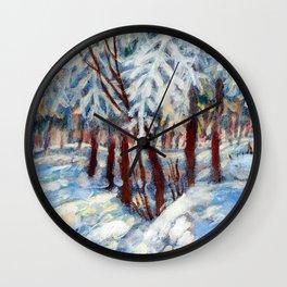 Snow in October by Dennis Weber / ShreddyStudio Wall Clock