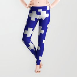 Plus Signs (White & Navy Blue Pattern) Leggings
