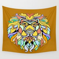 metallic Wall Tapestries featuring Metallic Lion by J&C Creations