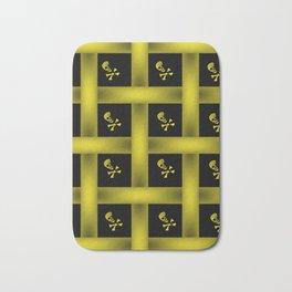 Yellow Skull Pattern Bath Mat