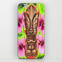 tiki iPhone & iPod Skins featuring Tiki by Tuff Luck Les